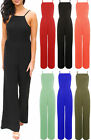 Ladies All In One Jumpsuit Womens Casual Cami Wide Leg Palazzo Plus Size 8-22