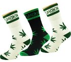 X 3 Ganja Hi Plant Life Marijuana Weed Leaf Stay Smokin Cotton Rich Sports Socks