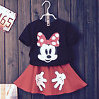 2-7Y Kids Girl Mickey Minnie Cartoon Mouse T-shirt Suits Outfit Top+ Pantskirt