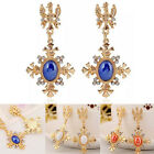 Sexy Women Magnificent Cross Shaped Charm Crystal Ear Clip Studs Dangle Earrings