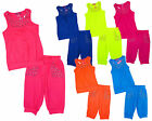 Girls Gem Stud Vest Top & Crop Leggings Summer Fashion Set 2 to 10 Years NEW