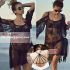 Sexy Womens US 4-20 Sheer Lace Crochet Swimwear Bikini Cover Up Boho Beach Dress