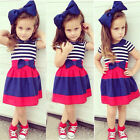 3Pcs Baby Kid Girl Outfits Short Sleeve Top T-shirt+Stripe Skirt +Headband 2-8