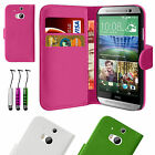 Leather Wallet Flip Case Cover For HTC One M8 2014 Free Screen Protector