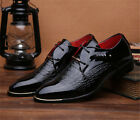 Men's Casual Pointed Patent Leather Lace Wedding Formal Dress Shoes Fashion Sale