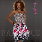 Sexy Floral Flower Leopard Animal Print Dress Size 6 8 10 Party Summer Casual