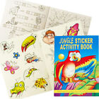 A6 JUNGLE ANIMALS 36 PAGE ACTIVITY COLOUR STICKER BOOK CHILDREN PARTY BAG FILLER