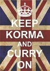 2548 KEEP CALM KORMA AND CURRY ON UNION JACK WALL PLAQUE METAL SIGN