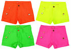 Girls Neon Turn Up Hotpant Fashion Stretch Cotton Summer Shorts 3 to 10 Years