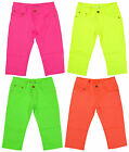 Girls Neon Colours Stretch Knee Shorts Capri Fashion Pants 3 to 10 Years NEW