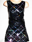 GIRLS 60s STYLE CRISS CROSS BLACK HOLOGRAPHIC SEQUIN EVENING PARTY DRESS
