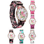 Classic Women Girl Floral Large Dial Flower Leather Band Quartz Wrist Watch Hot