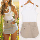 New Ladies Long Top Blouse Summer Sexy Bandage Womens Sleeveless Mini Dress