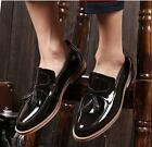 UK Mens Dress Formal Loafers Tassels Brogues Oxfords Casual Patent Leather Shoes