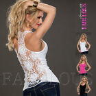 Sexy European Crochet Lace Top Size 6 8 10 Casual Clubbing Singlet Shirt XS S M
