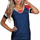Antigua New England Patriots Women's Navy Blue Supersonic Lace-Up T-Shirt