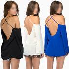 Sexy Hot Womens Straps Off Shoulder Bandage Backless Chiffon Blouse T Shirt Tops