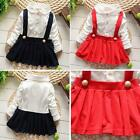 Baby Kids Girls Cotton Long Sleeve Pleated Lace Dress Party Suspender Skirts A15