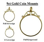 9ct Gold  Scroll Top Coin Pendant Mounts