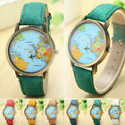 Fashion Global Travel By Plane Map Women Dress Watch Denim Fabric Band Watch NEW