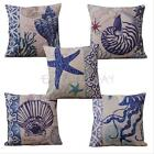 Blue Ocean Sea Series Cotton Linen Cushion Cover Home Decor Sofa Pillow Case New