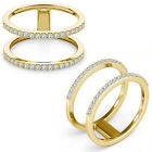 0.35 Carat G-H Diamond Fancy Double Circle Engagement Women Ring 14K Yellow Gold