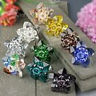 1x Womens Faceted Crystal Glass Flower Beads Adjustable Finger Ring Jewelry Gift