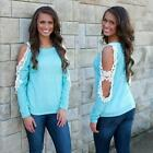 Sexy Women Fashion Lace OFF Shoulder long Sleeve Casual Top T-Shirt Blouse Blue