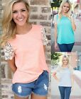 Sexy Fashion Women Summer Vest Top Short Sleeve Blouse Casual Tank T-Shirt Lace