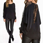 NEW Ladies Mesh Sheer Lace Batwing Backless Casual Blouse Top T Shirt Loose 8-24