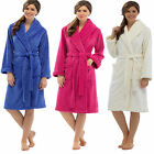 Ladies Womens Plain Coral Fleece Robe Dressing Gown Wrap Housecoat ln620