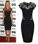 Ladies Sexy Lace Bodycon Party Tumic Cap Cocktail Backless Black Dress Summer UK