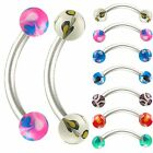 2Pcs Bent barbell curved ear eyebrow bar tragus lip ring 9PVA-SELECT DESIGN&SIZE