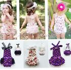 Baby Girls One-piece Backless Sunsuit Party Lace Sling Ruffles Halter Jumpsuit