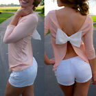 Women Summer Backless Bowknot Casual Long Sleeve Chiffon Blouse Shirt Tops