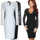 Womens Black Slim Ladies Bodycon Midi Lace Pencil Cocktail Party Evening Dress