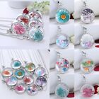Round Real Dry Dried Flowers Glass Pendant Necklace Handmade Fashion Jewellery