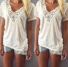 Fashion Women Summer Lace Vest Shirt Sleeveless Blouse Casual Tank Tops T-Shirt