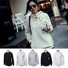 Women Button Zipper Hoody Spring Autumn Long Sleeve Casual Sweatshirts Hooded US