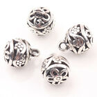 10/20Pcs Tibetan Silver Round Hollow Flower Charm Pendant DIY Bracelet Necklace