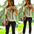 Sexy Women Print Short Sleeve T shirt Off Shoulder Tank Casual Loose Blouse Top