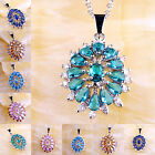 Morganite Pink & Blue &Green Topaz Sapphire Quartz Gems Silver Pendant Necklace