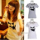 Women Fashion Sweet Slim Lovely Cat Round Neck T-Shirt Summer Casual Animal Tops