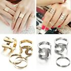 3pc/Set Punk Fashion Lady Gold Silver Knuckle Mid Finger Tip Stacking Rings Kit