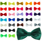 Hot Sale Mens Pre Tied Wedding Party Fancy Satin Plain Necktie Bow tie UK