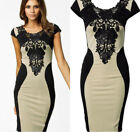 2015 Elegant Formal Ladies Scoop Lace Neck Party Cocktail Evening Bodycon Dress