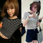 Women Slim Striped Blouse Crop Cropped Tops Short T-shirt Tee White/Black  F85