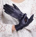 New Fashion Lady Womens Autumn Winter Driving Warm Bow Lambskin Leather Gloves