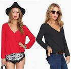 Fashion Women Loose Chiffon V Vest Tank Top Long Sleeve T Shirt Casual Blouse