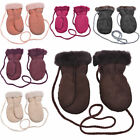Childrens Genuine Sheepskin Thumb Mitten with Keep Safe Cord